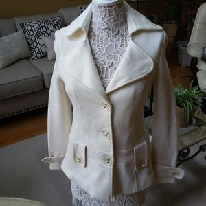 WINTER White KNIT FITTED JACKET Coat SZ M